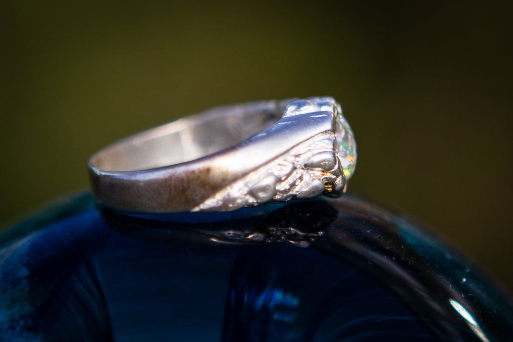silver ring cremation jewelry