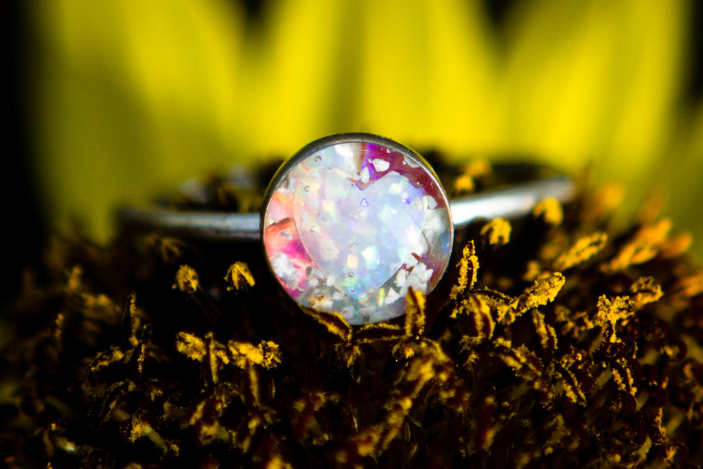 cremation jewelry ring -  ring with opals and cremation ash