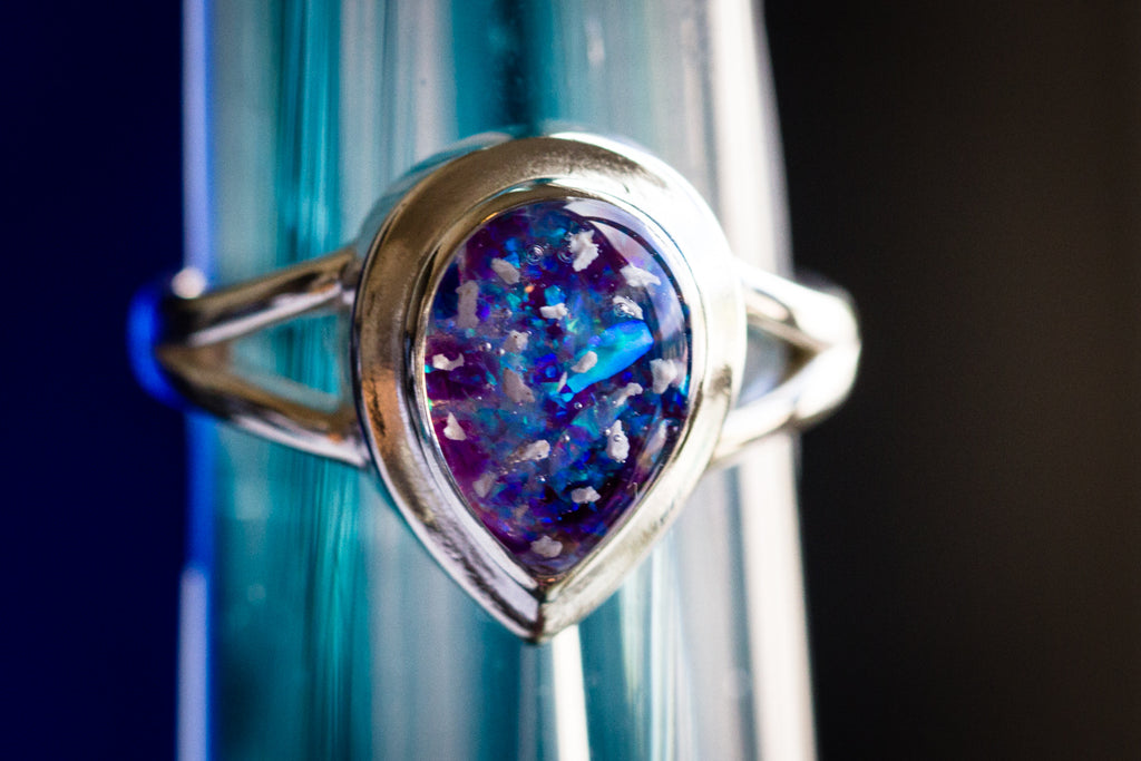 silver pear ring with opals - cremation jewelry ring