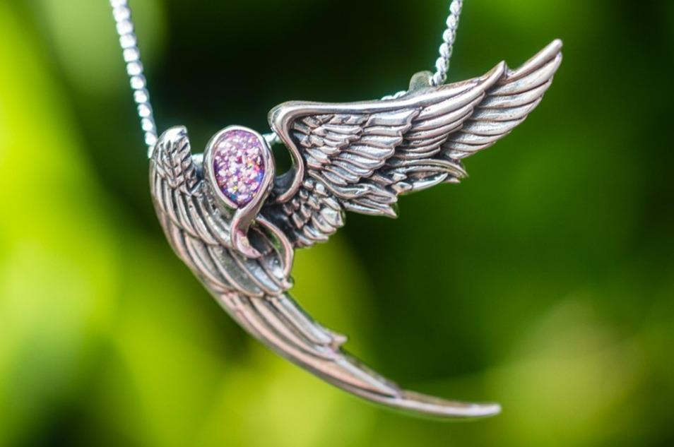 Guardian Angel Necklace with Cremation Ash