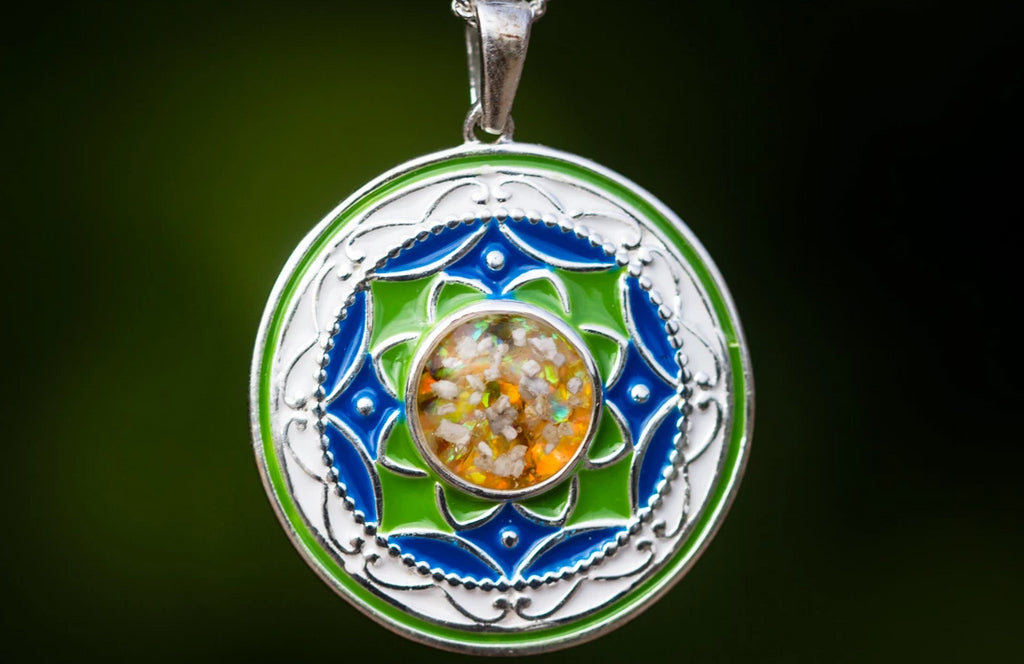 enameled silver pendant with cremation ash