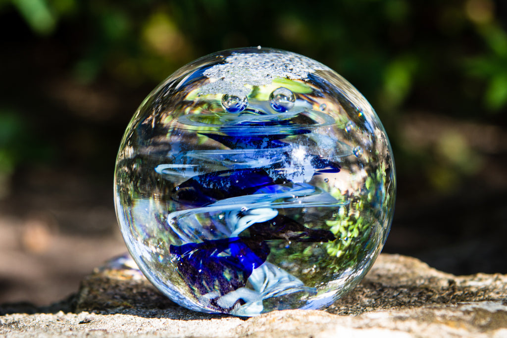 Snowfall Fish Orb with Cremation Ash - PAPERWEIGHT | $144.00