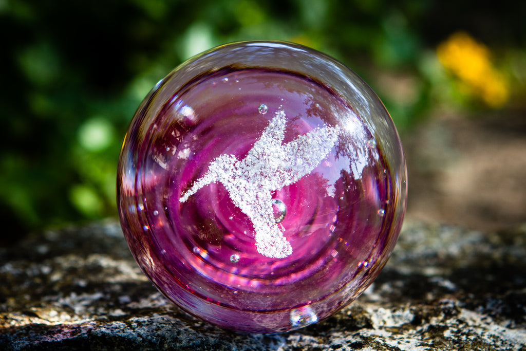 Hummingbird Snowfall Orb with Cremation Ash - PAPERWEIGHT | $124.00