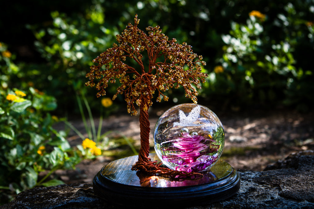 Large Autumn Tranquility Tree of Life with Hummingbird Snowfall Orb by Jake - Tree of Life | $449.00, ashes in glass