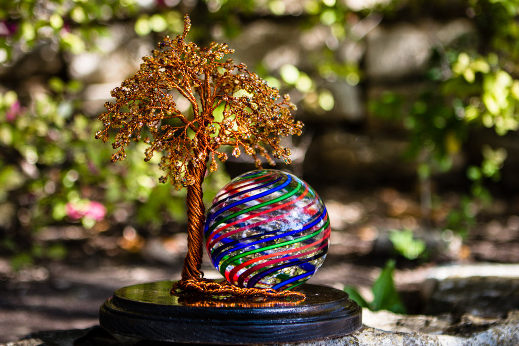Large Autumn Tranquility Tree of Life with Striped Rainbow Orb by Tyler - Tree of Life | $469.00, ashes in glass
