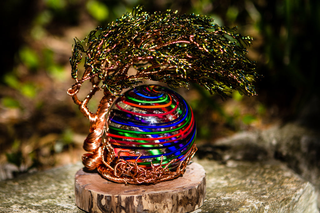 Windswept Tree Of Life with Rainbow Stripe Ash Infused Orb by Tyler - PAPERWEIGHT | $499.00, ashes in glass