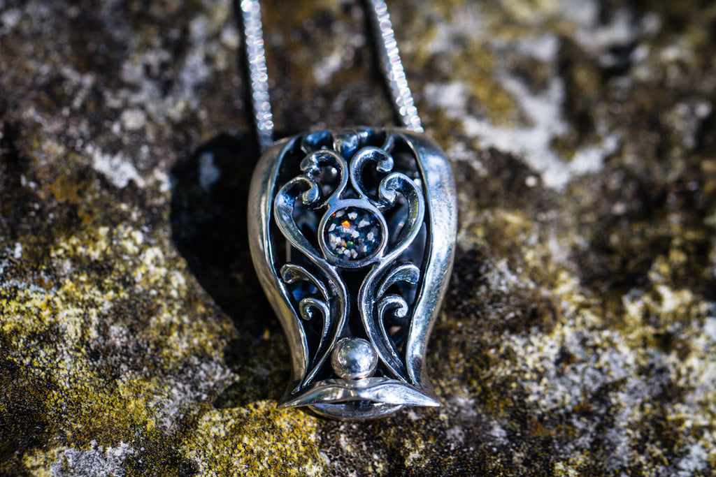 filigree pendant with cremation ash