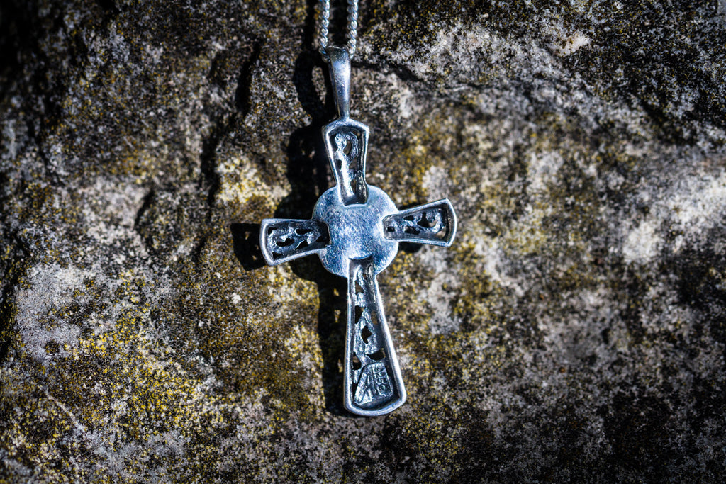 cross pendant with cremation ash