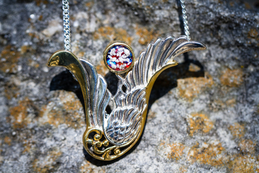 Gold Plated Silver Guardian Angel Pendant - Cremation Jewelry | $122.00