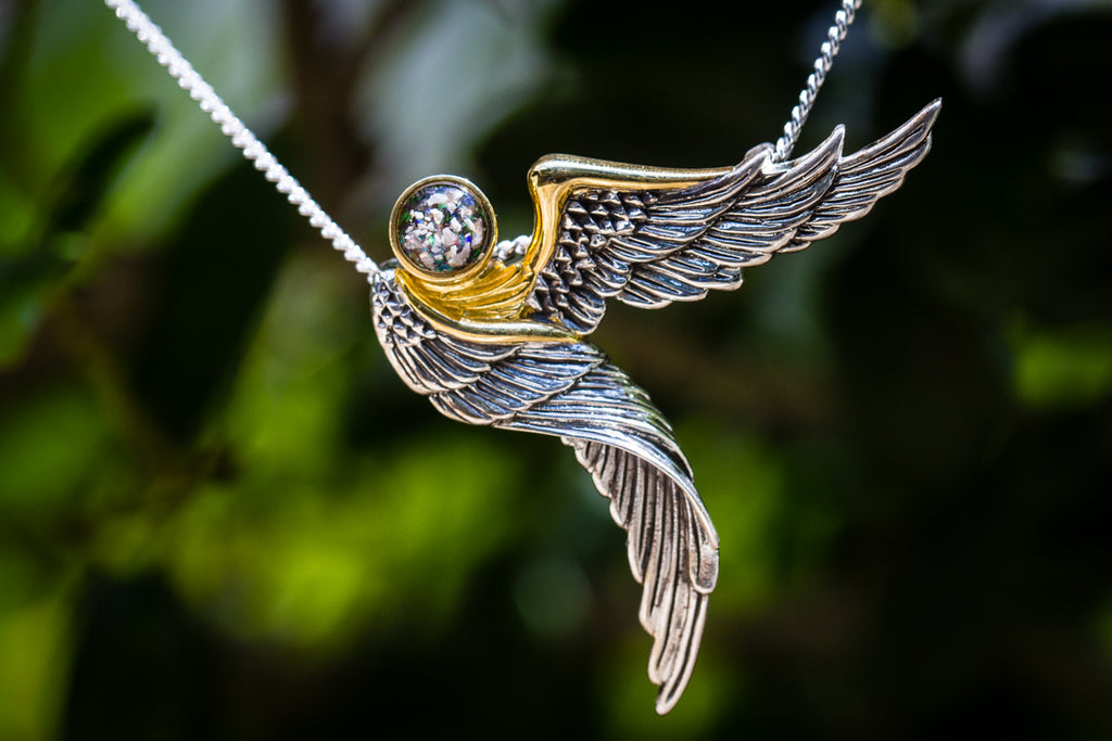 Gold Plated Silver Guardian Angel Pendant v2