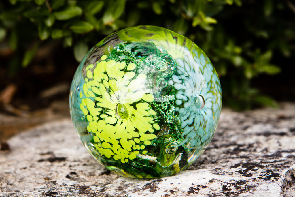 Flower Explosion Paperweight with Infused Ash Center by Rachel - PAPERWEIGHT | $159.00, ashes in glass
