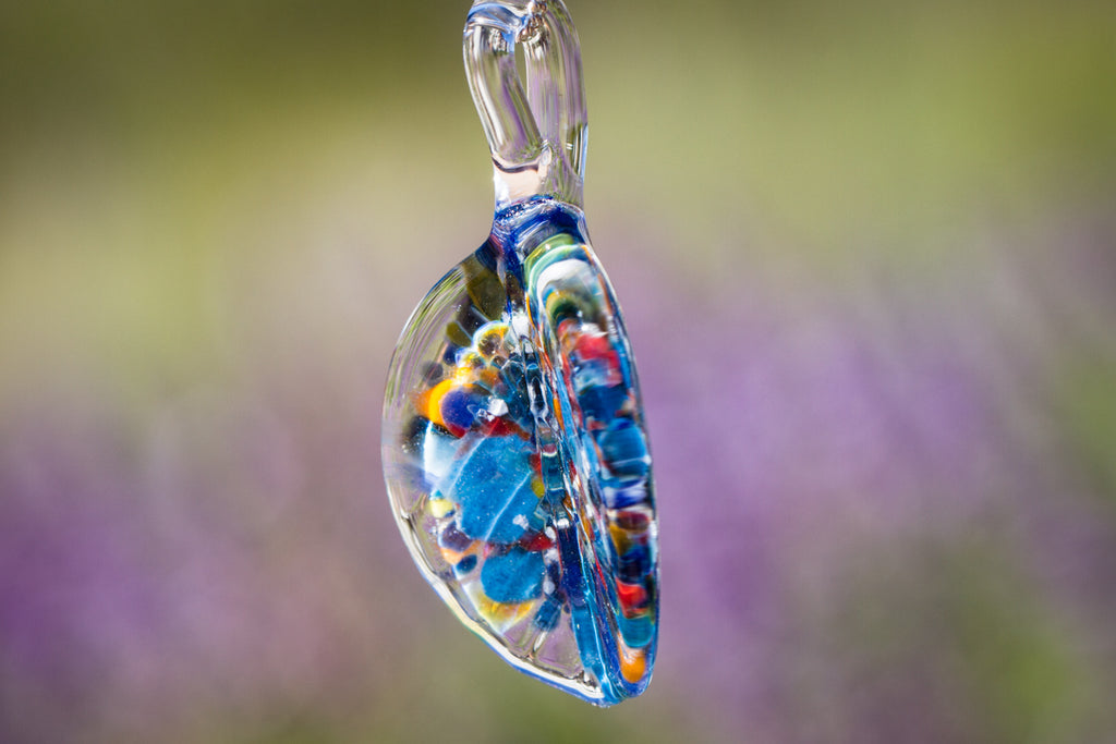 Folded Rainbow Pendant with Infused Cremation Ash - Cremation Jewelry | Glass with Cremation Ash | $114.00