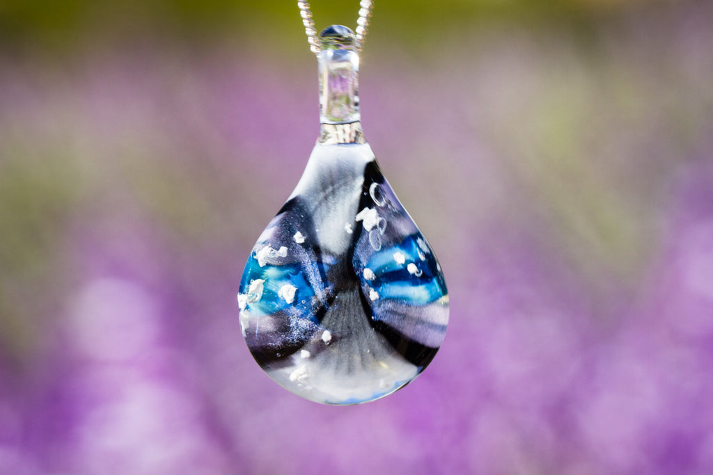 Mountain Road Teardrop Pendant with Infused Cremation Ash - Cremation Jewelry | Glass with Cremation Ash | $114.00