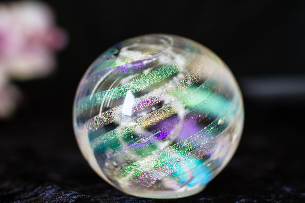 Dichroic Rainbow Orb with Cremains - PAPERWEIGHT | $124.00