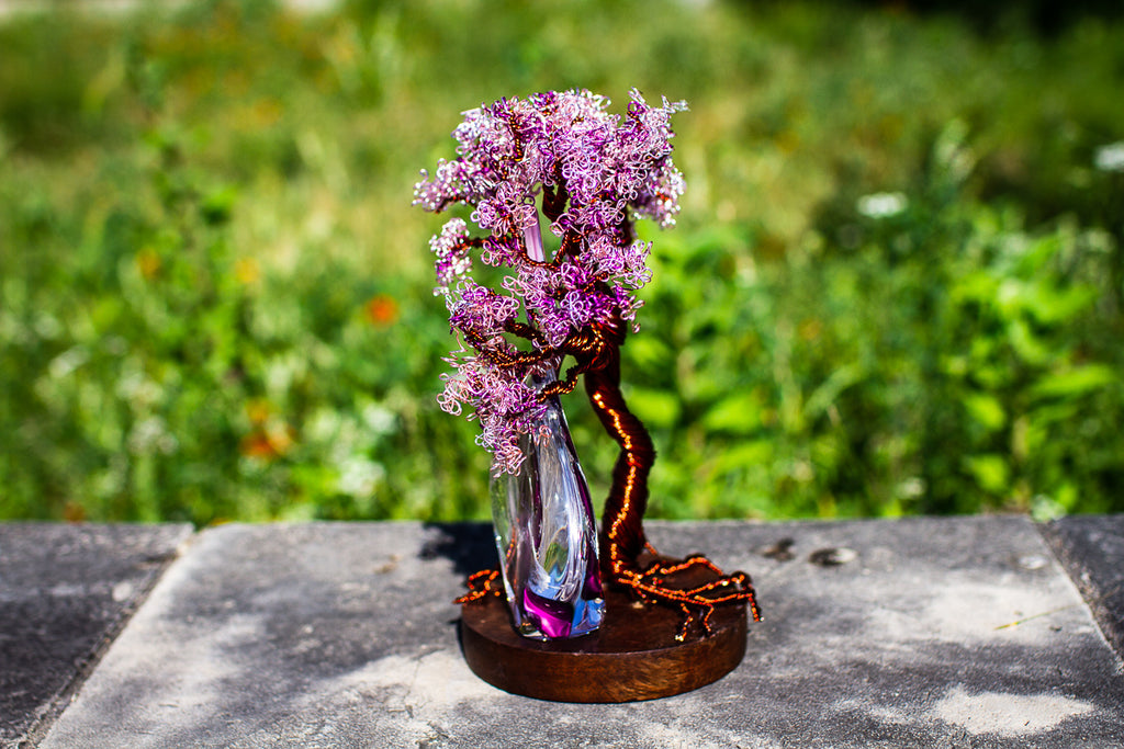 Wire Wrapped Flame Tree with Cremains - TREE ONLY - PAPERWEIGHT | $319.00