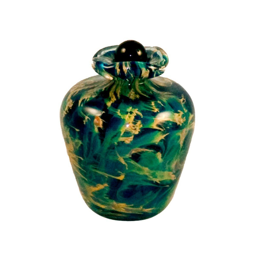 green glass urn for cremation ashes of person