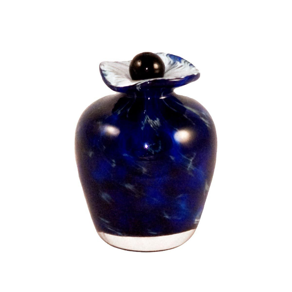 Blue handmade glass urn for cremation ashes of person