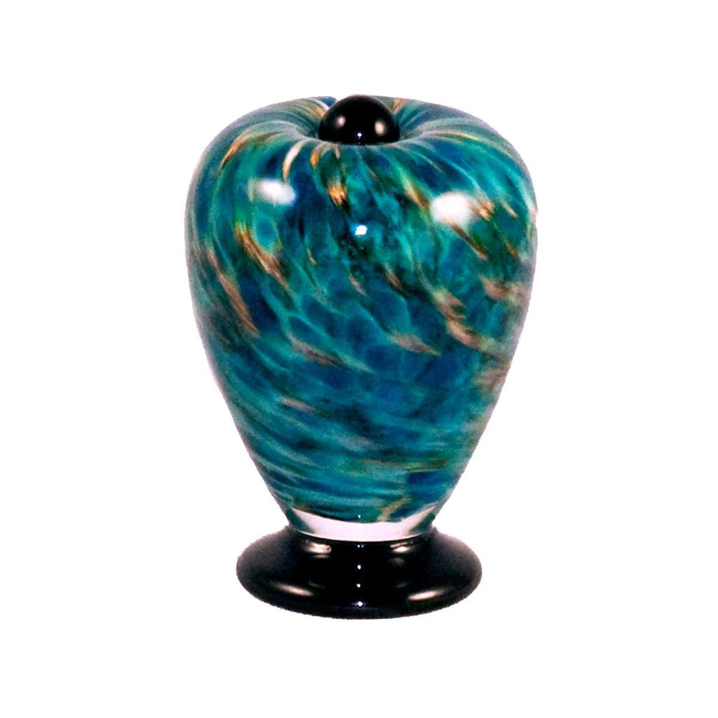 glass urn for cremation ashes of person