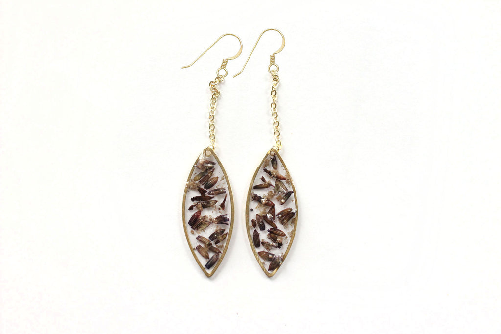 Lavender leaf cremation jewelry earrings