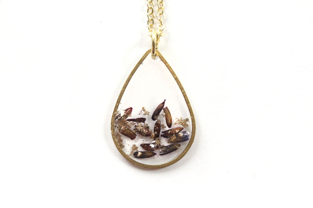 Teardrop cremation jewelry necklace