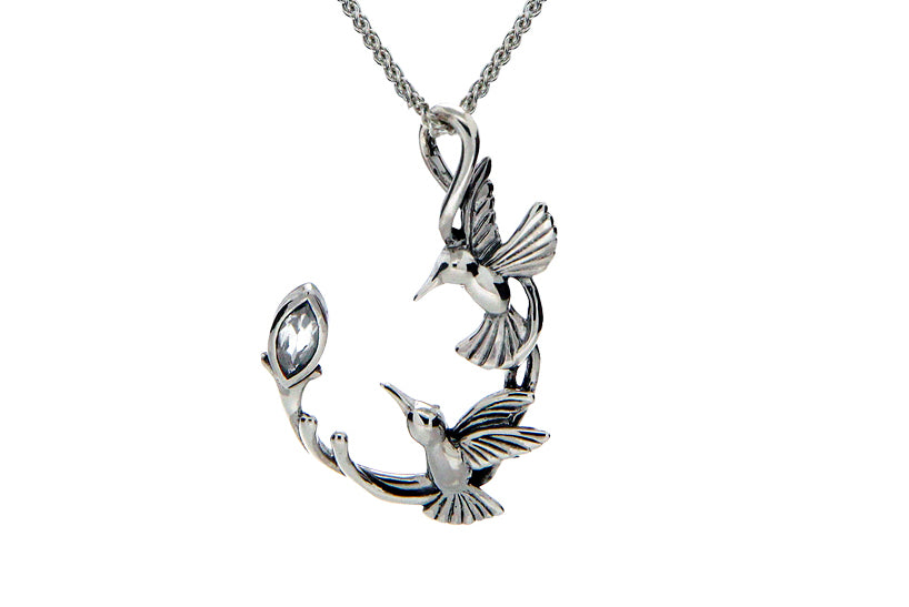 Sterling Silver Memorial Double Hummingbird Necklace - Cremation Jewelry | $155.00