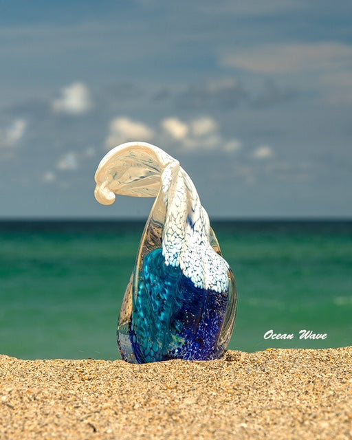 Ocean Wave Paperweight with Cremation Ash - PAPERWEIGHT | $229.00