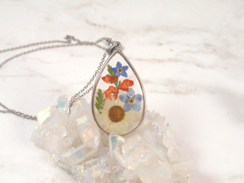 Teardrop Flower Pendant with Real Flower and Cremains - Cremation Jewelry | $96.00