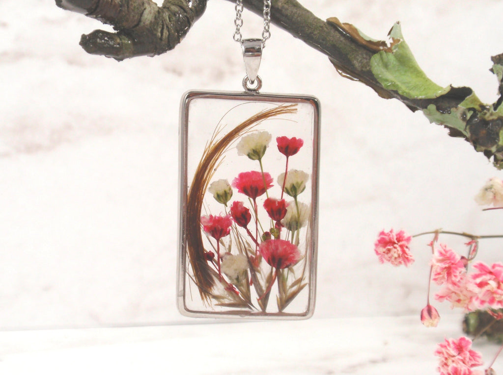 Square Flower Pendant with Infused Hair and Fur