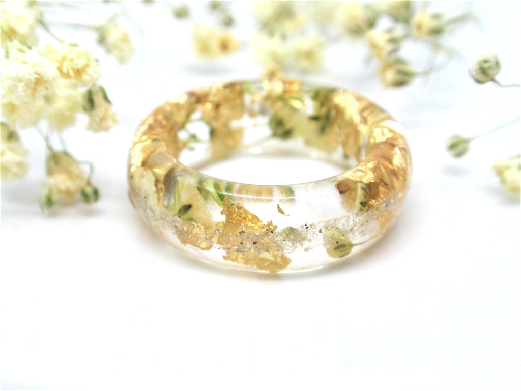 Yellow Flower Ring with Cremains