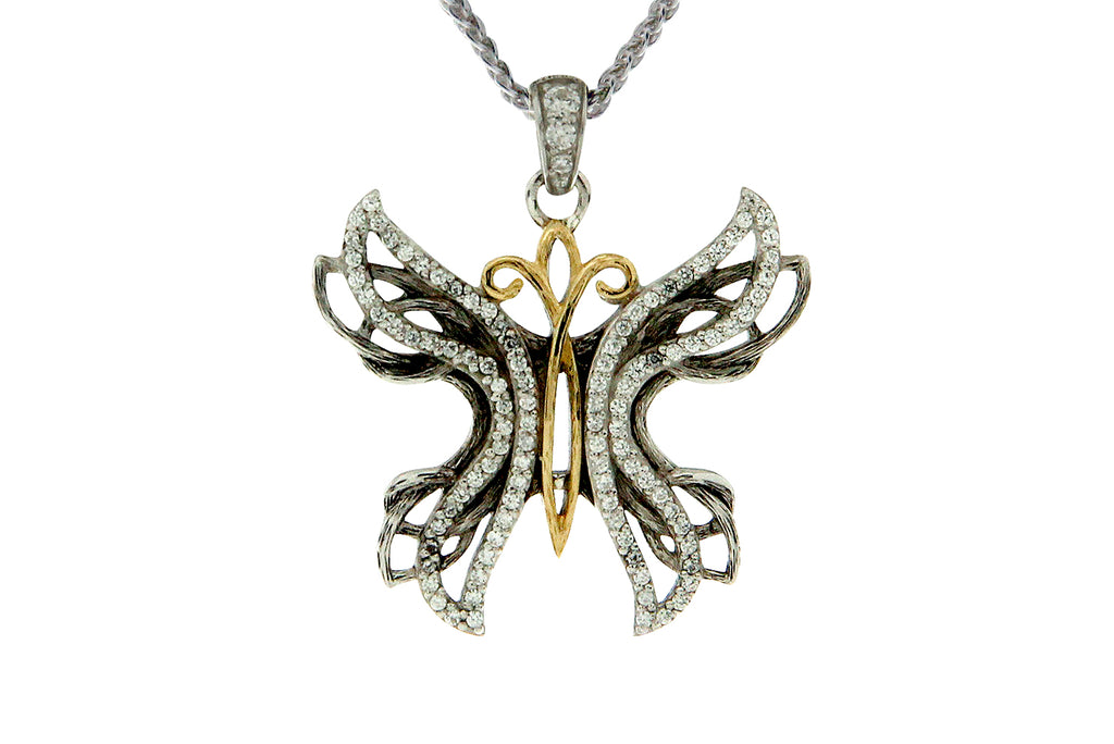 Soaring Sterling Silver and Gold Butterfly Memorial Pendant
