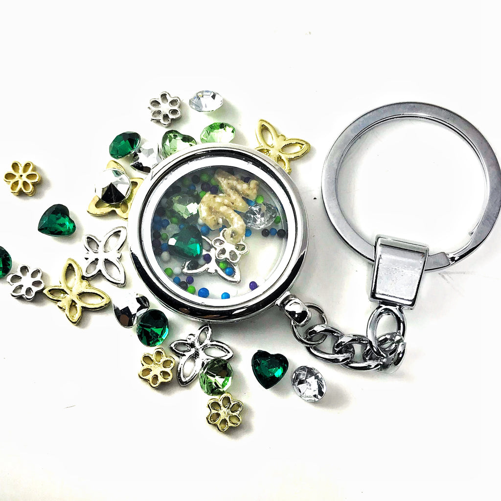 Living Memory Floating Locket Keychain with Cremains Letter - Pendant | $0.00