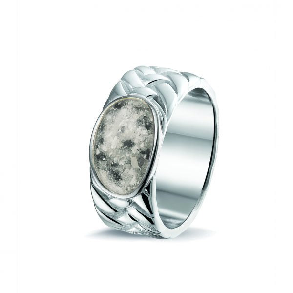 Weaved Silver Ring with Cremation Ash - Cremation Jewelry | $329.00