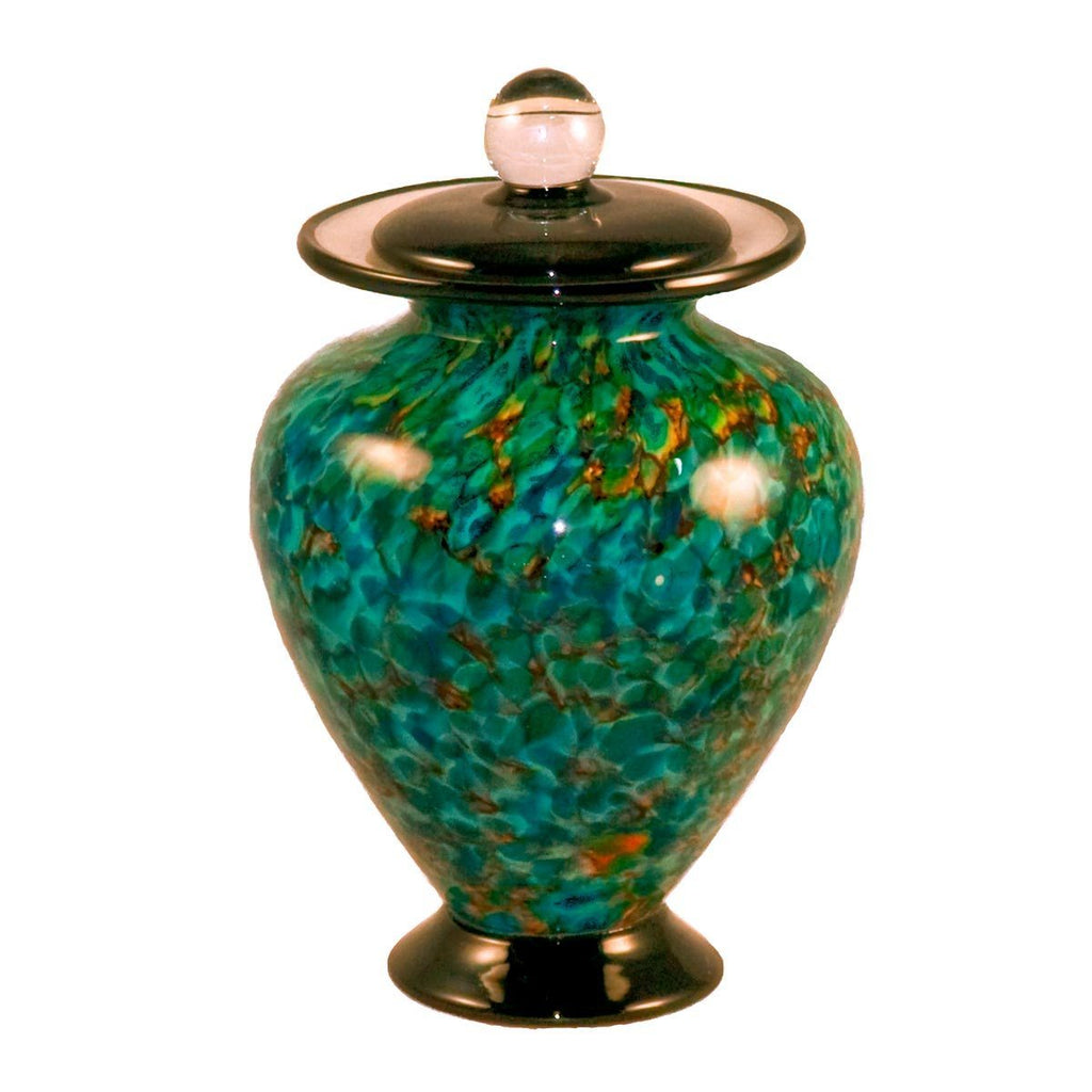 Aegean themed glass urn for cremation ashes