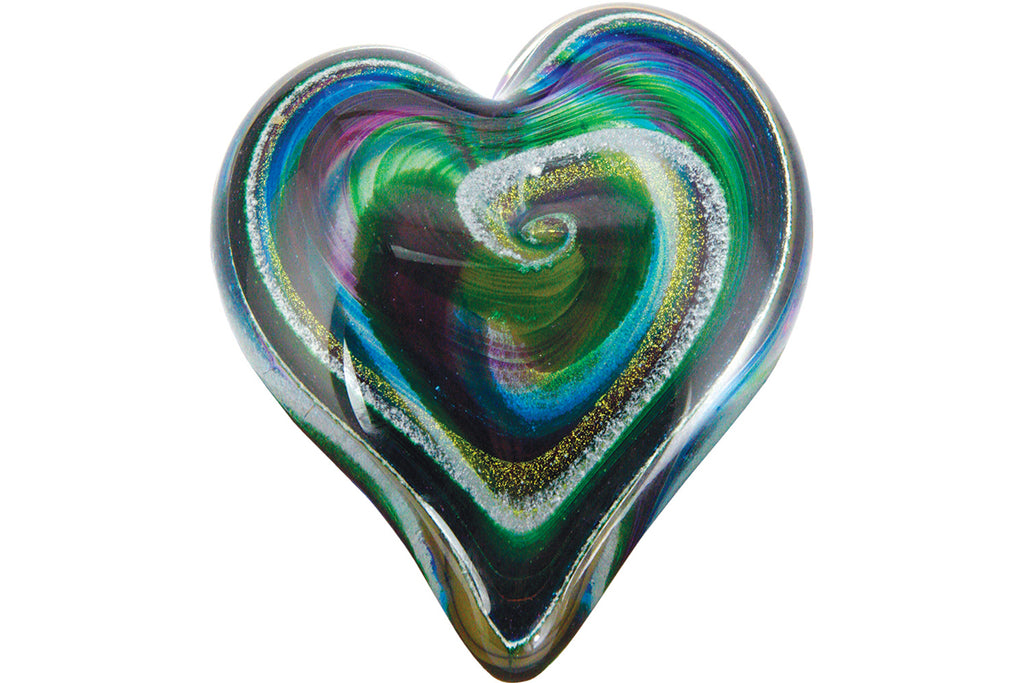 giant glass heart with cremains blue green gold