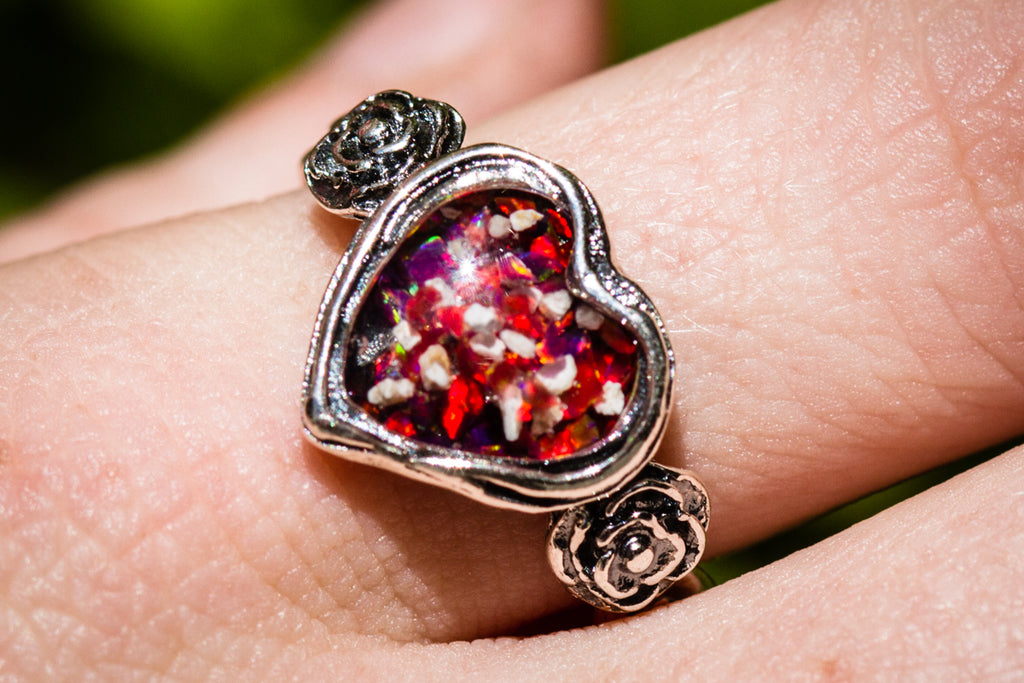 cremation jewelry ring - silver heart with cremation ash and crushed opal