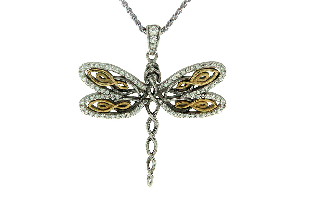 Dragonfly Sympathy Necklace in Silver & Gold