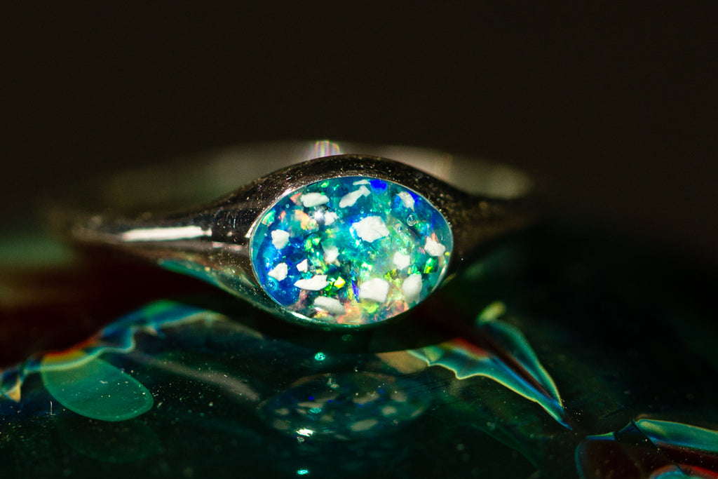 Cremation Jewelry Ring with Opals