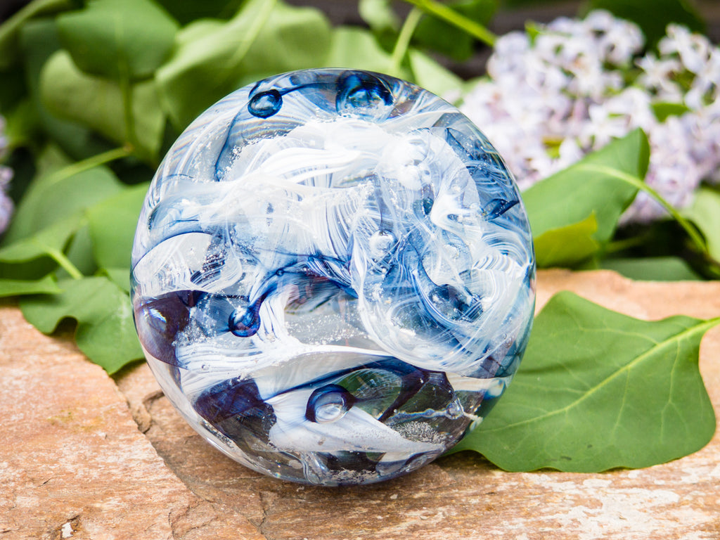 Cotton Candy Orb with Ash in Glass - PAPERWEIGHT | $144.00
