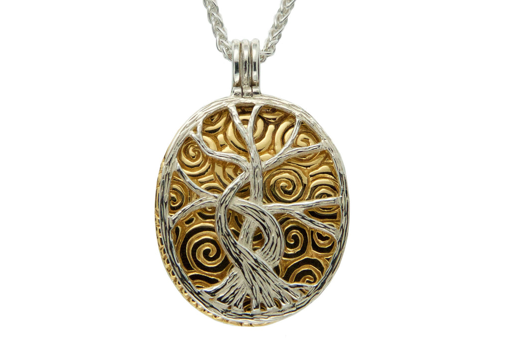 Reversable Tree of Life Silver and Gold Pendant - Cremation Jewelry | $199.00