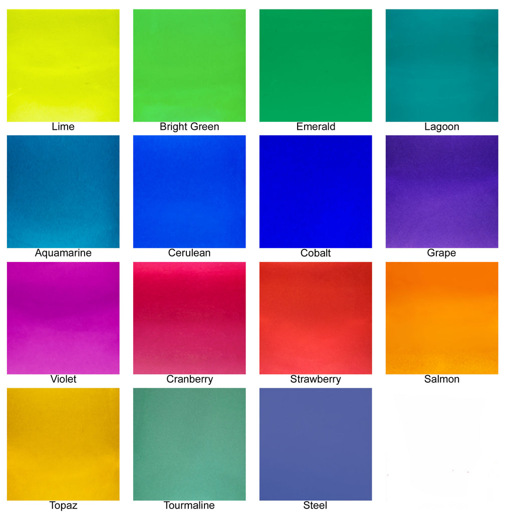 Michael Urn Color Chart. Top row, left to right: Lime, bright green, emerald, lagoon. Second row, left to right: Aquamarine, cerulean, cobalt, grape. Third row, left to right: Violet, cranberry, strawberry, salmon. Fourth row, left to right: Topaz, tourmaline, steel.