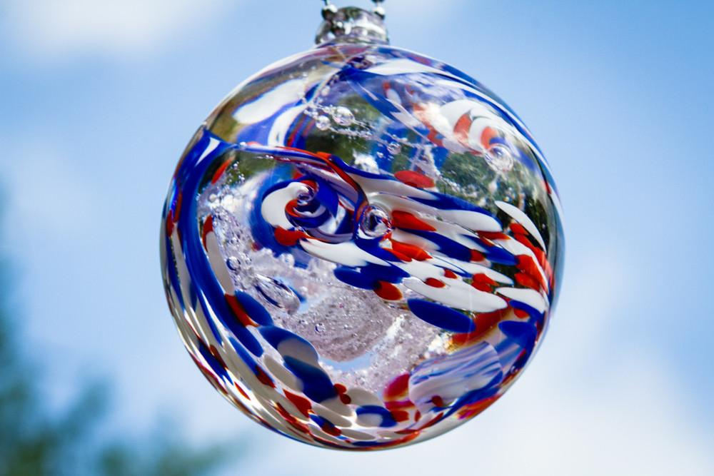 American Confetti Orb with Infused Cremation Ash by Aaron - ORB | $109.00, ashes in glass