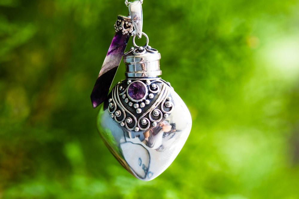 Amethyst Sterling Silver Heart Necklace - Cremation Jewelry | $84.00