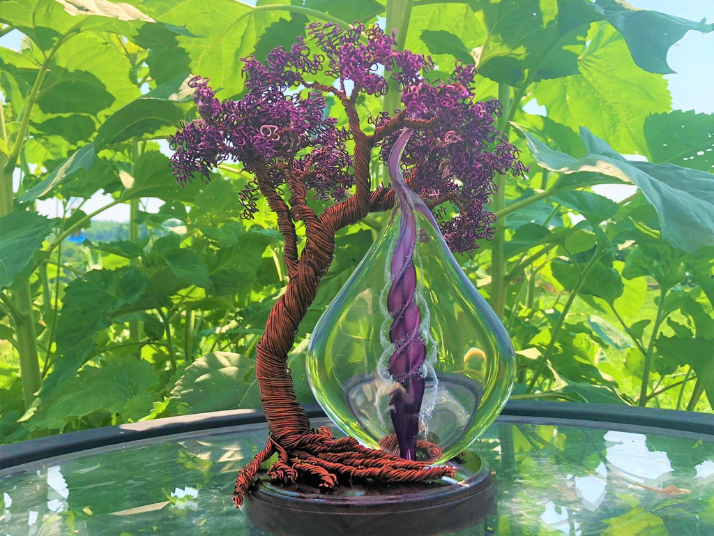 Wire Wrapped Flame Tree with Cremains