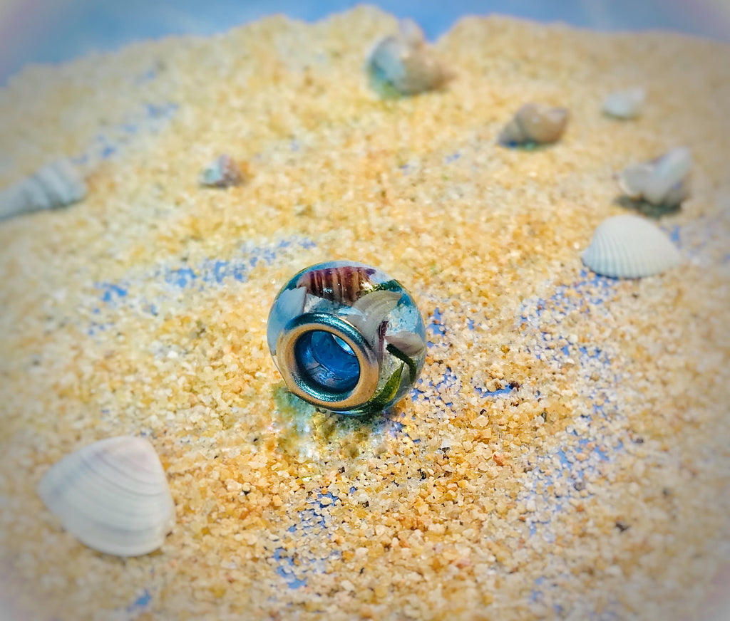 ocean bead with cremains