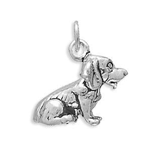 Oxidized Sterling Silver Beagle Charm