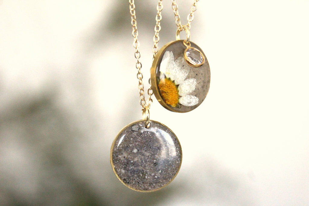 birthstone flower necklace with cremation ash