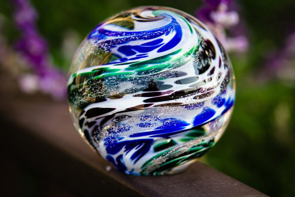 Blue & Green Cat Eye Cremation Orb with Infused Cremains - PAPERWEIGHT | $119.00