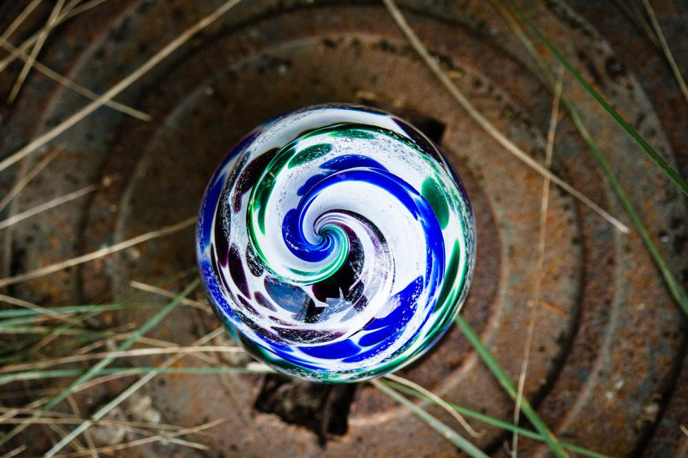 Blue & Green Cat Eye Cremation Orb with Infused Cremains - PAPERWEIGHT | $99.00