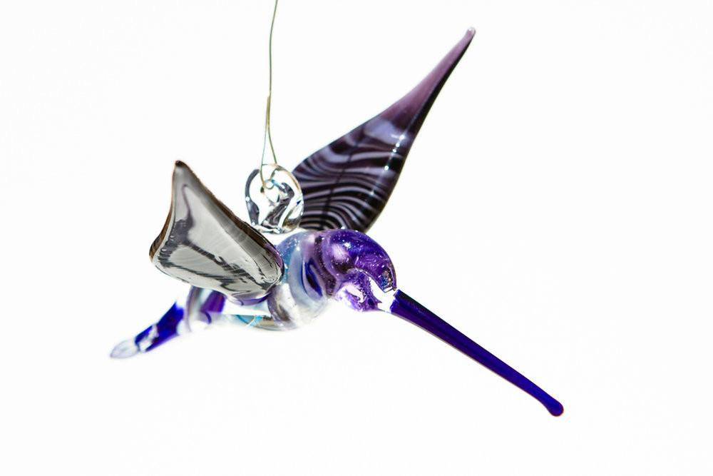 Blue and Purple Glass Hummingbird with Infused Ash - SUNCATCHER | $139.00
