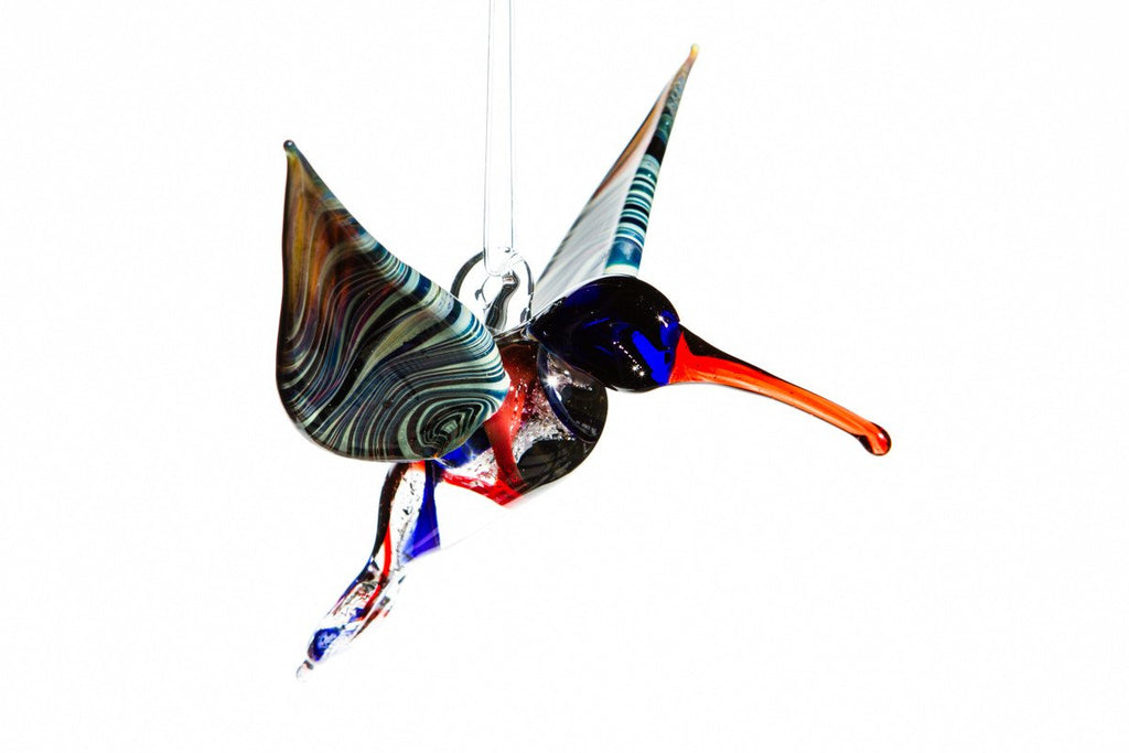 Blue and Red Hummingbird with Ashes in Glass by Charles - SUNCATCHER | $124.00, ashes in glass